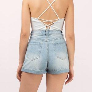 MINKPINK Shorts - NWT Minkpink light blue denim high rise shorts L
